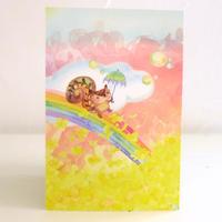 ポストカード 黄色い花畑と虹