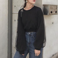 4color : Balloon Sleeve Tulle  Sweat 133 送料無料