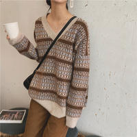3color: V neck Nordic Knit  送料無料 144