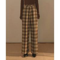 Wool Check Wide Pants 90228 送料無料