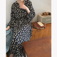 【即納】2color: Front Button Flower Long Dress 送料無料