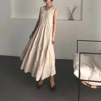 Cotton Linen Stripe Tiered Long Dress 送料無料