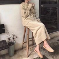 3color:Wrap skirt Mockneck Knit Set up 送料無料