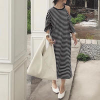 2color:Oneshoulder Border Dress 送料無料