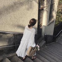 2color:Chiffon Crepe Long Dress 送料無料
