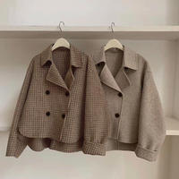 Wool 80% Handmade Checked Short Coat   150 送料無料