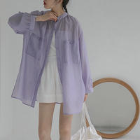 2color : Standcollar Sheer Shirts 90194 送料無料