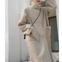 2color : Stand collar Boa Long Coat 90249  送料無料