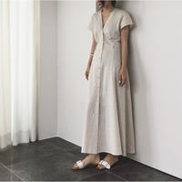 Linen Front Button Long Onepiace 送料無料