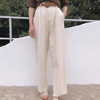 Linen × Wood Belt  Linenblend High Waist Stitch Wide Pants 送料無料