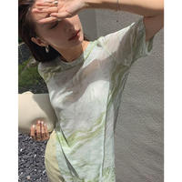 ■New 1day 5%OFF■3color : Sheer Marble Slit Long Tops 90342 送料無料