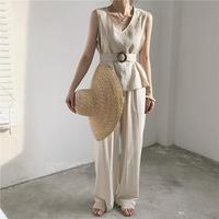 3color:Linen Wide Pants  23 送料無料