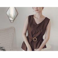 2color:CottonLinen Asymmetry Belt Tops   送料無料