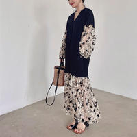 Sheer Embroidery Flower Docking Dress 90308 送料無料