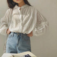 Band coller Cotton Gauze Dot Shirts  90161 送料無料