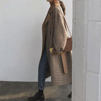 Wool 80% Hand made Checked Long Coat 147 送料無料