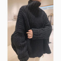 3color : High neck Volume Wool Knit 151 送料無料