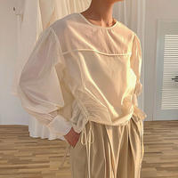 4color : Side Shirring Bishop sleeve Blouse 90289 送料無料