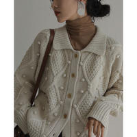 "2color : ""PON PON "" Collar Knit Cardigan 90252 送料無料"