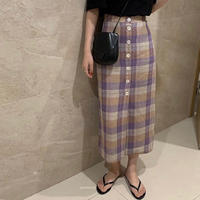 再入荷【即納】Linen Frontbutton Checked Skirt 送料無料