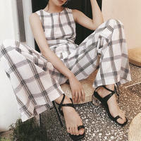 Cotton Linen Checked Combinaison 送料無料