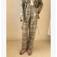 Linen 100% Check Tuck Pants 180 送料無料