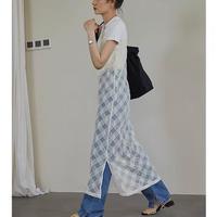 Diagonal Check  Sheer Camisole Dress 90299 送料無料