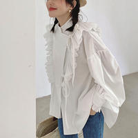 Frill Volume Sleeve French Blouse 90309 送料無料