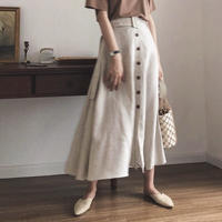 Linen Frontbutton Belt Skirt 120    送料無料