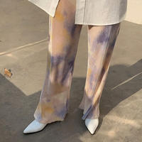2color : Color Tie-dye Pattern Pleats Long Pants 90297 送料無料