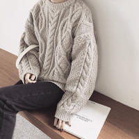 Crew Neck Volume Aran Knit 送料無料