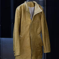"""Jobi fret roop """" full tannin yellow cow leather architecture tailored jacket"""""""