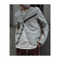 "Subtile ""hickory stripe no collar jacket"