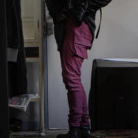 "Roop fret ""Red×blue chambru denim skinny cargo pants"""