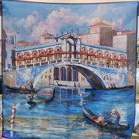 バルサンティ イタリア製コモシルクスカーフ リアルト橋 85x85