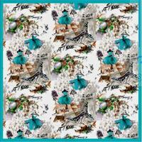 バルサンティ イタリア製 コモシルクスカーフ バレリーナ ターコイズ 50x50