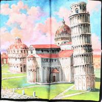 バルサンティ イタリア製コモシルクスカーフ ピサの斜塔 50x50