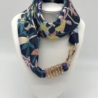バルサンティ イタリア製 スカーフネックレス (ラインストーンフック)ブルー