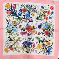 バルサンティ イタリア製コモシルクスカーフ フィオーレ ピンク 50x50