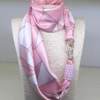 バルサンティ イタリア製 スカーフネックレス (ラインストーンフック)ピンク