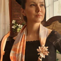 バルサンティ イタリア製 スカーフネックレス(コサージュ)ベージュ