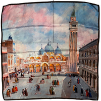 バルサンティ イタリア製 コモシルクスカーフ サンマルコ広場 大判 85x85