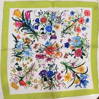 バルサンティ イタリア製コモシルクスカーフ フィオーレ フレッシュグリーン 50x50