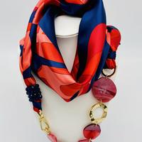 バルサンティ イタリア製 スカーフネックレス (ラインストーンフック)ネイビーレッド