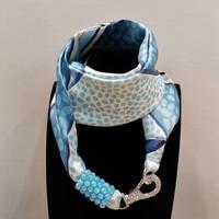バルサンティ イタリア製 スカーフネックレス(ラインストーンフック)ブルー