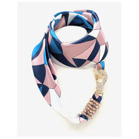 バルサンティ イタリア製スカーフネックレス (ラインストーンフック)ネイビーピンク