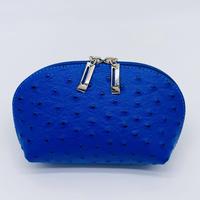 バルサンティ イタリア製レザー型押しポーチ ブルー