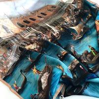 バルサンティ イタリア製 コモシルクスカーフ ベネツィア 小判 50x50