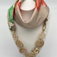 バルサンティ イタリア製 スカーフネックレス グリーンベージュ