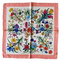 バルサンティ イタリア製 コモシルクスカーフ フィオーレ ピンク 小判 50x50